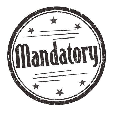 compulsory: Mandatory grunge rubber stamp on white background