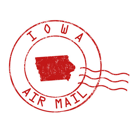 Iowa post office, air mail, grunge rubber stamp on white background, vector illustration