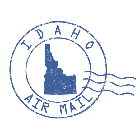 post mail: Idaho post office, air mail, grunge rubber stamp on white background, vector illustration