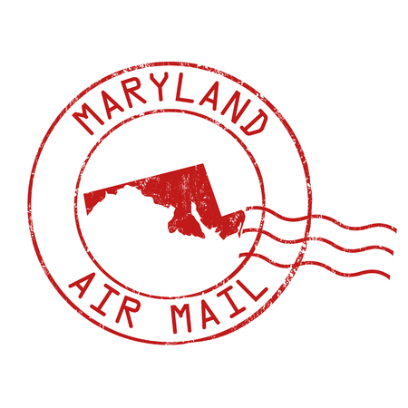 post mail: Maryland post office, air mail, grunge rubber stamp on white background, vector illustration Illustration
