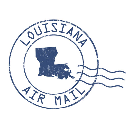 post stamp: Louisiana post office, air mail, grunge rubber stamp on white background, vector illustration