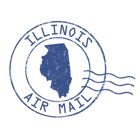post stamp: Illinois post office, air mail, grunge rubber stamp on white background, vector illustration Illustration