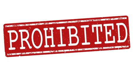barred: Prohibited grunge rubber stamp on white background, vector illustration Illustration