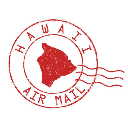 Hawaii post office, air mail, grunge rubber stamp on white background, vector illustration