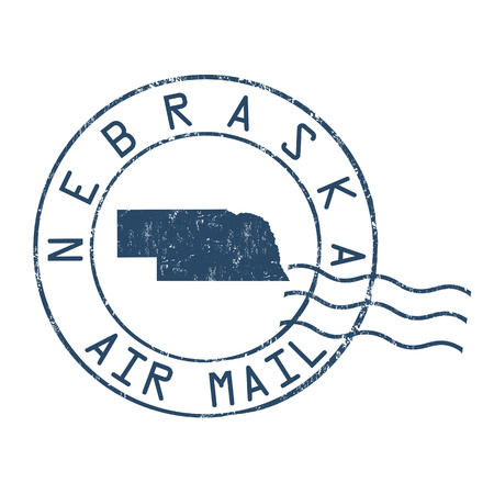 post stamp: Nebraska post office, air mail, grunge rubber stamp on white background, vector illustration
