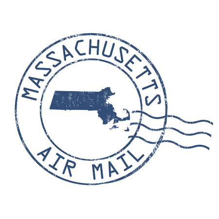 post mail: Massachusetts post office, air mail, grunge rubber stamp on white background, vector illustration