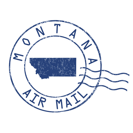 post mail: Montana post office, air mail, grunge rubber stamp on white background, vector illustration Illustration