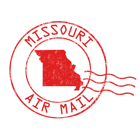Missouri post office, air mail, grunge rubber stamp on white background, vector illustration