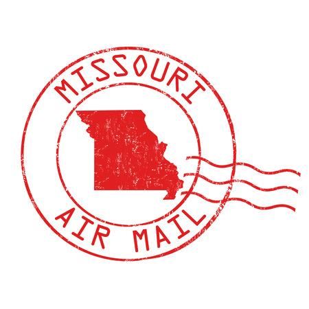 Misuri postal, correo aéreo, grunge sello de goma sobre fondo blanco, ilustración vectorial