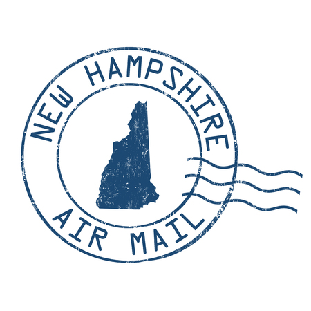 post mail: New Hampshire post office, air mail, grunge rubber stamp on white background, vector illustration