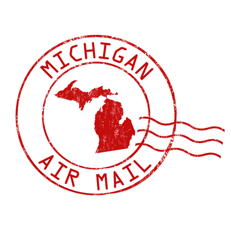 Michigan post office, air mail, grunge rubber stamp on white background, vector illustration Illustration