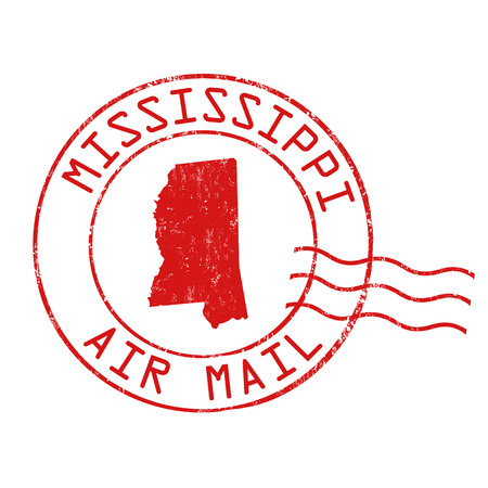 Mississippi post office, air mail, grunge rubber stamp on white background, vector illustration