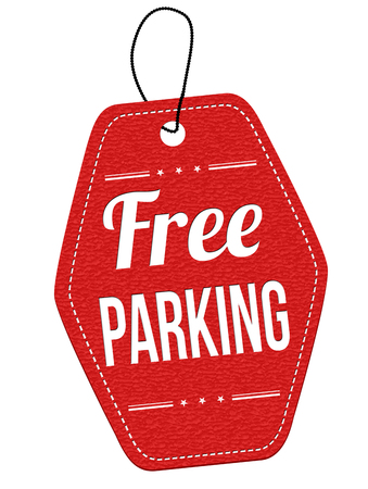 unoccupied: Free parking red leather label or price tag on white background, vector illustration