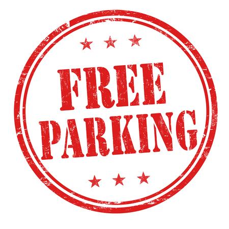Er is gratis parkeergelegenheid grunge rubber stempel op een witte achtergrond, vector illustratie