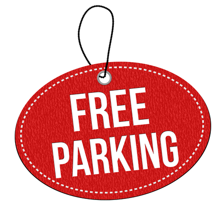 Free parking red leather label or price tag on white background, vector illustration
