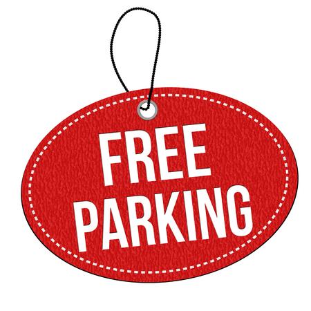 etichetta in pelle rossa parcheggio gratuito o cartellino del prezzo su sfondo bianco, illustrazione vettoriale