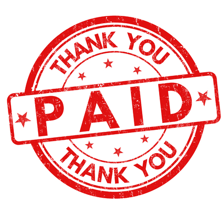 Paid and thank you grunge rubber stamp on white background, vector illustration