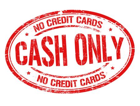 Cash only grunge rubber stamp on white background, vector illustration
