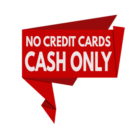 only: Cash only origami speech bubble on white background, vector illustration Illustration
