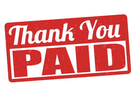 validate: Paid and thank you grunge rubber stamp on white background, vector illustration
