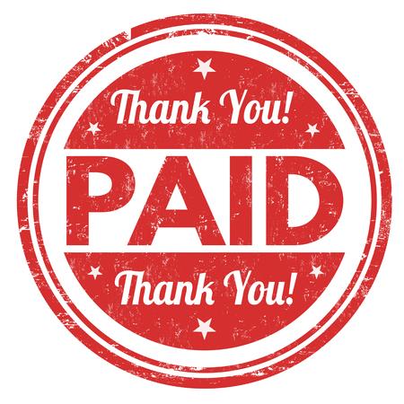 支払われると白い背景のグランジ ゴム印をいただきありがとうございます、ベクトル イラスト