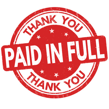 Paid in full and thank you grunge rubber stamp on white background, vector illustration