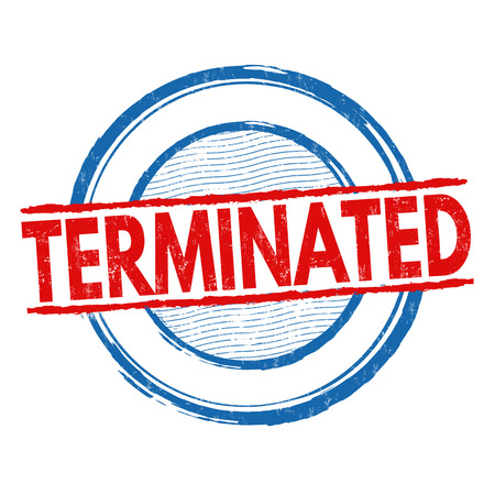 terminated: Terminated grunge rubber stamp on white background, vector illustration