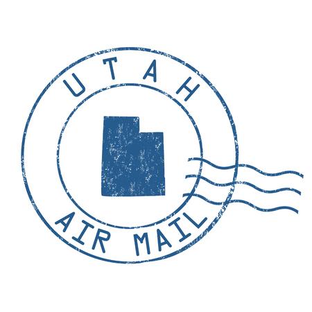 post mail: Utah post office, air mail, grunge rubber stamp on white background, vector illustration Illustration