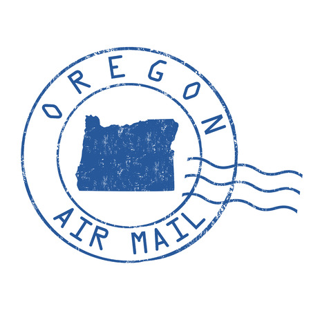 post stamp: Oregon post office, air mail, grunge rubber stamp on white background, vector illustration