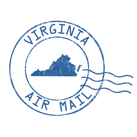 post mail: Virginia post office, air mail, grunge rubber stamp on white background, vector illustration