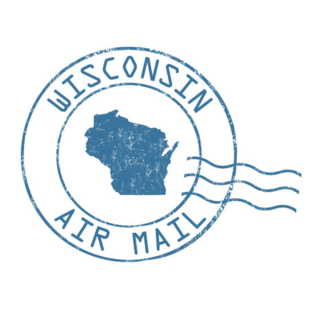 post mail: Wisconsin post office, air mail, grunge rubber stamp on white background, vector illustration