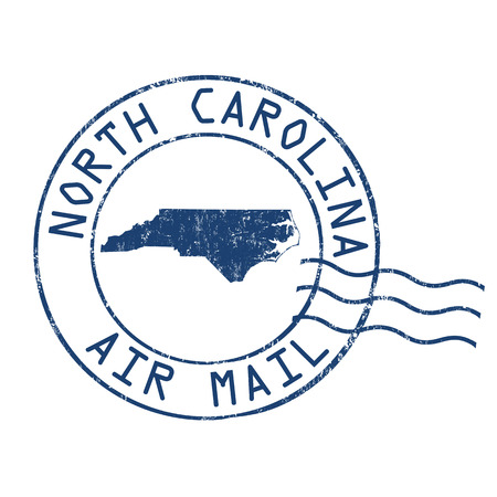 post mail: North Carolina post office, air mail, grunge rubber stamp on white background, vector illustration