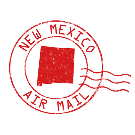 New Mexico post office, air mail, grunge rubber stamp on white background, vector illustration