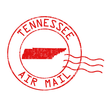 post mail: Tennessee post office, air mail, grunge rubber stamp on white background, vector illustration