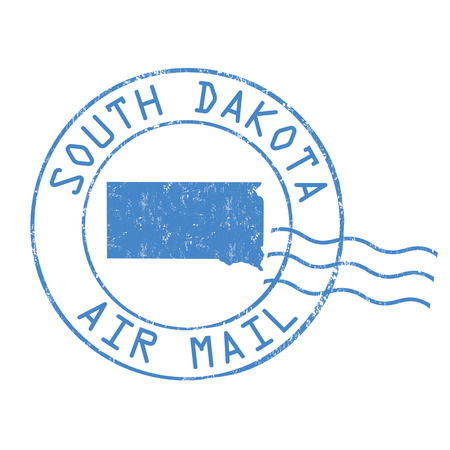 post stamp: South Dakota post office, air mail, grunge rubber stamp on white background, vector illustration