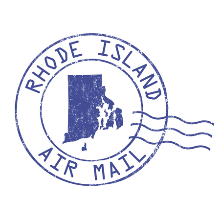 post stamp: Rhode Island post office, air mail, grunge rubber stamp on white background, vector illustration