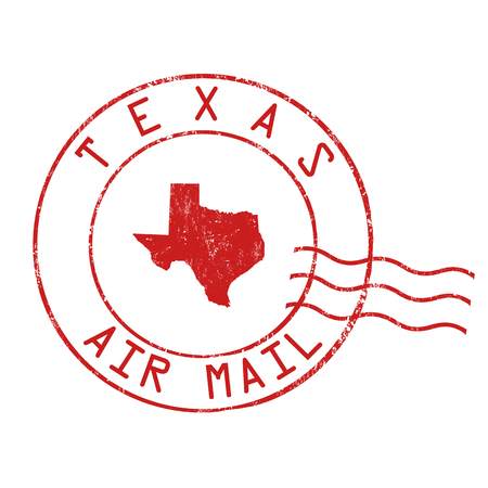 Texas post office, air mail, grunge rubber stamp on white background, vector illustration