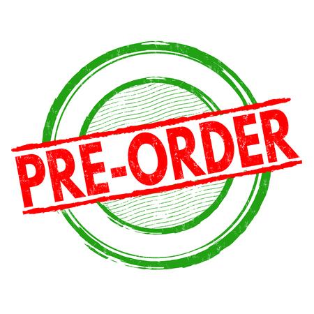 Pre-order grunge rubber stamp on white background, vector illustration