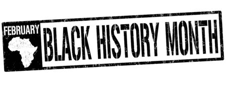 american history: Black history month grunge rubber stamp on white background, vector illustration