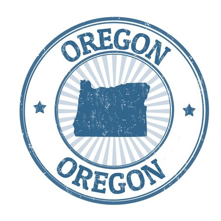 identifier: Grunge rubber stamp with the name and map of Oregon, vector illustration