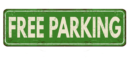 free illustration: Free parking vintage rusty metal sign on a white background, vector illustration