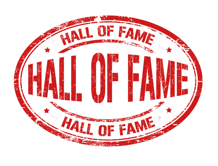 fame: Hall of fame grunge rubber stamp on white, vector illustration Illustration
