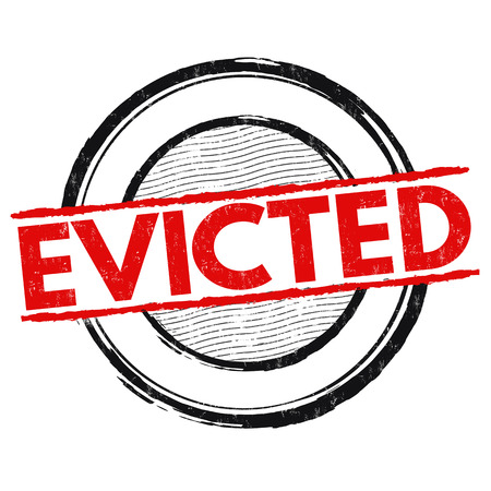 evicted: Evicted grunge rubber stamp on white background, vector illustration
