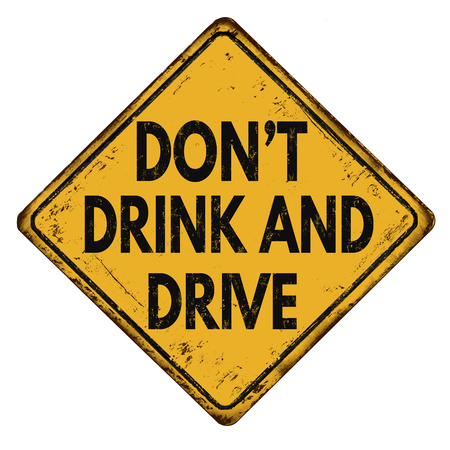 irresponsible: Dont drink and drive vintage rusty metal sign on a white background, vector illustration Stock Photo
