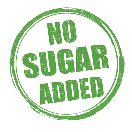 No sugar added grunge rubber stamp on white background, vector illustration Çizim