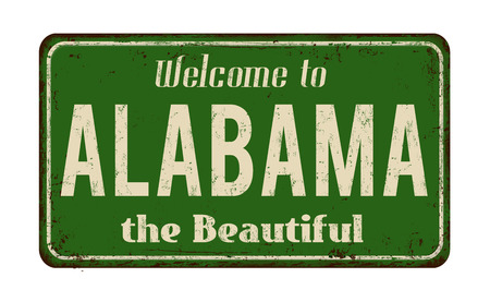 vintage: Welcome to Alabama vintage rusty metal sign on a white background, vector illustration