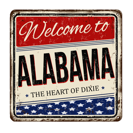 alabama: Welcome to Alabama vintage rusty metal sign on a white background, vector illustration