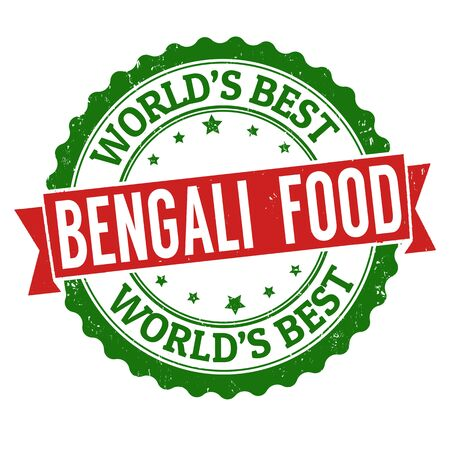 food: Bengali food grunge rubber stamp on white background, vector illustration