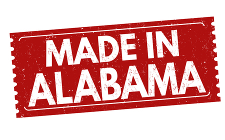 grunge rubber stamp: Made in Alabama grunge rubber stamp on white background, vector illustration Illustration