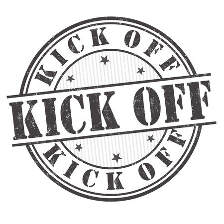 Kick off grunge rubber stamp on white background, vector illustration Vettoriali